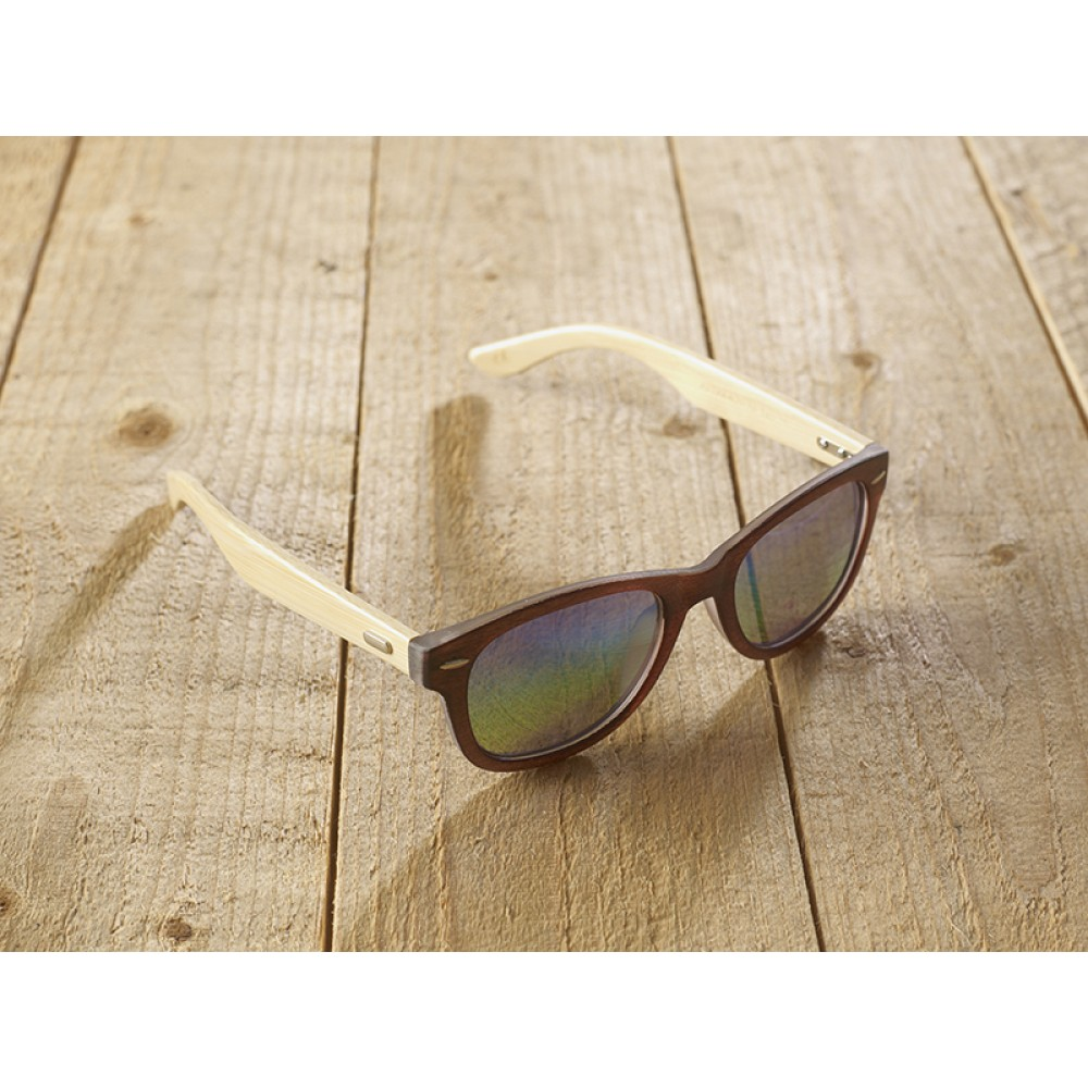 Genua Brown unisex mirr blue by eco-sunglasses.com
